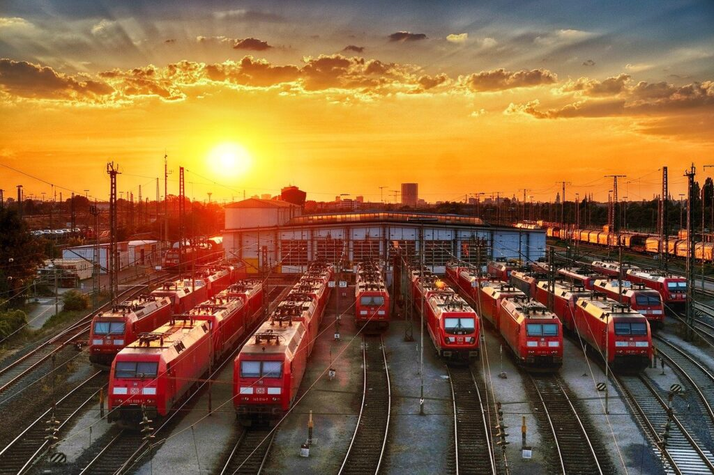 locomotive, train car, railway